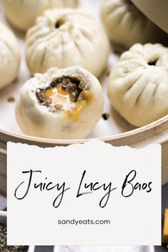 Fluffy steamed baos with cheeseburger filling Steamed Bao Buns, Fancy Dishes, Juicy Lucy, Garlic Aioli, Cheese Cubes, Beef Patty, Bun Recipe, Brunch Ideas, Dry Yeast