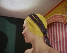 'Ruffles and Bows'. A lovely feminine design, a yellow strapless hat with a double frill and bow at the back. One Step Forward, Swim Caps, Bathing, Beanie, Feminine, Swimming, Cool Stuff, Hats, Ruffles