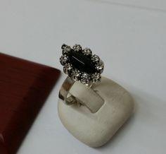 925 Silberring mit Onyx-Stein Kristalle SR443 von Schmuckbaron