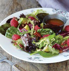 Raspberry Salad with Baby Greens and Raspberry-Golden Balsamic Vinaigrette   #OrganicSpaMagazine #vegan
