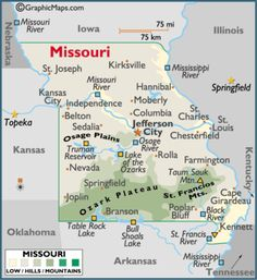 Map of Missouri MO