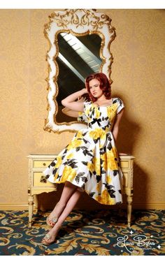 Maid of Honor Dress: Evelyn Dress in Yellow and Black Vintage Floral Print - Dresses - Clothing | Pinup Girl Clothing
