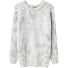Peter Jensen Waffle Crew Neck ($207) ❤ liked on Polyvore featuring tops, sweaters, jumpers, shirts, waffle shirt, raglan sweater, raglan sleeve shirts, crewneck sweater and thick sweaters