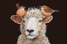 """Sheep Chaperone"" by Tennessee artist Vicki Sawyer, acrylic on canvas, 14"" x 11""."