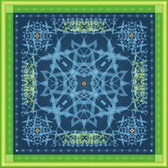 """Progetto tessile di STRATEGIC-DESIGN per foulard in seta con grafica originale,soggetto """"labyrint in blu e verde"""""""