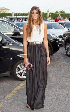 #White #Top & #Maxi #Pleated #Skirt #Style #Women #Fashion