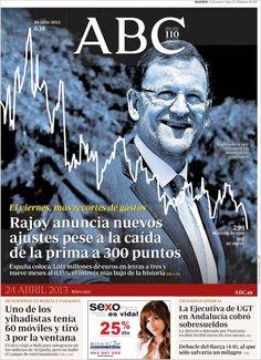 Los Titulares y Portadas de Noticias Destacadas Españolas del 24 de Abril de 2013 del Diario ABC ¿Que le parecio esta Portada de este Diario Español?