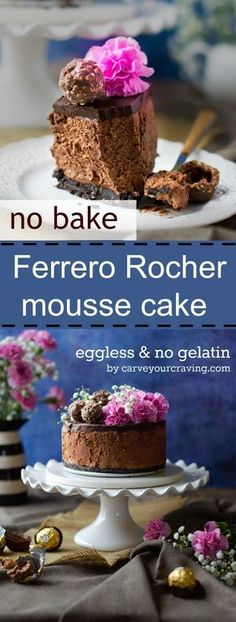 No bake eggless ferrero rocher mousse cake... try with Coconut cream and vegan nutella spread