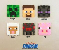 MINECRAFT Party Favors Set of 12 - Minecraft Birthday Party Favor perler beads by MadamFANDOM