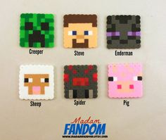 MINECRAFT Party Favors Set of 12 - Minecraft Birthday Party Favor perler beads by MadamFANDOM