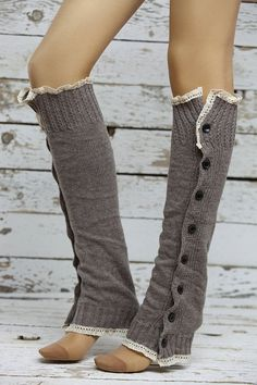 Leg Warmers Double side ruched button Leg Warmers Soft Knit by DayfitFashion, $34.00