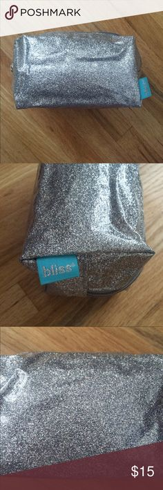 New! Never used Bliss makeup bag Fun, silver Bliss makeup bag. Zipper closure. Never used. Bliss Bags Cosmetic Bags & Cases