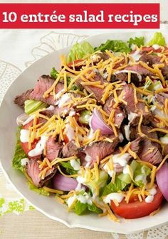 10 Entree Salads -- These recipes are just the tip of the iceberg (Bibb, and Swiss Chard)! Some are vegetarian, but you'll also see some that star chicken, grilled fish and even steak.