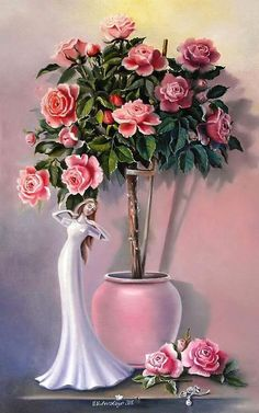 Painting «Still life with roses Flower Vases, Flower Art, Flower Arrangements, Art Floral, Colour Pencil Shading, Romantic Paintings, Acrylic Flowers, Ribbon Art, Painting Still Life