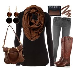 Casual Outfits | Black & Brown.... Something different. Grey denim is something I have been looking for!!
