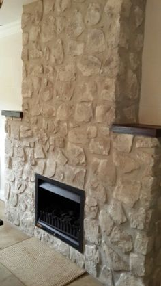 Gray-Washed Fireplace Stone Using Annie Sloan Chalk Paint ...