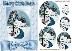 COTTAGE IN THE SNOW CHRISTMAS TIME OVAL PYRAMIDS on Craftsuprint designed by Nick Bowley - COTTAGE IN THE SNOW CHRISTMAS TIME OVAL PYRAMIDS, with stars and pretty bow, Makes a pretty christmas card .. matching insert cup544472_415 - Now available for download!