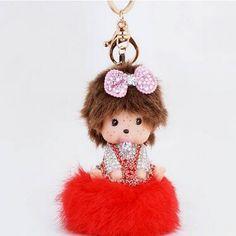 Onnea 뜨거운 monchichi 키 2016 소녀 선물 monchhichi 크리스탈 모피 볼 체인 귀여운 키 체인 폼폼 여성 키 홀더 가방