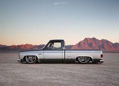 "Hot Wheels - Bad ass Chevrolet C10 ""Silver Fox"" via @staffords_garage looking , so sweet!  @johnnyophoto #chevrolet #gmc #c10 #squarebody #airsuspension #bagged #stance #layframe #carporn #streetrod..."