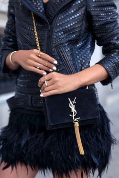 Different textures in black add a bit of edge to any outfit.
