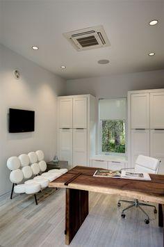 Wood desk white interior office