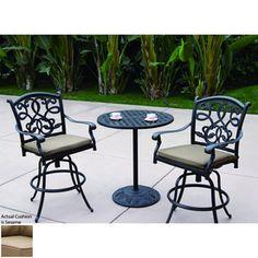 Darlee Santa Monica 3-Piece Antique Bronze Aluminum Bar Patio Dining Set Atg6557108