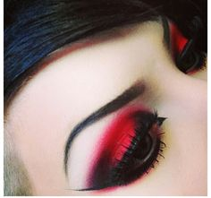 Dramatic red and black eyeshadow