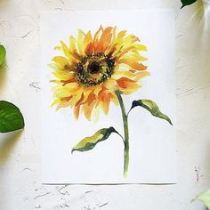 fun and bright watercolor sunflower painting sunflower watercolor flowers fineartist Watercolor Kit, Watercolor Projects, Watercolor Sunflower, Watercolour Painting, Watercolor Flowers, Body Painting, Let's Make Art, Guache, Oil Painting Flowers