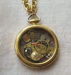 White Rabbit's Pocket Watch Steampunk Pendant on Chain