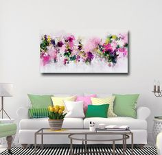 Large Panoramic Canvas Art Abstract Wall Art Pink and Green