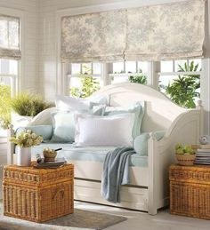 Wicker furniture creates pleasant cottage decor feel in modern living rooms and soften room designs in traditional and contemporary style Decor, Furniture, Room, Daybed With Trundle, Daybed In Living Room, Home, Cottage Decor, House Interior, Interior Design