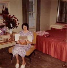 June 17, 1961: Elvis' grandmother, Minnie Mae Hood, on her 71st birthday. Picture is taken inside the downstairs bedroom; Vernon and Gladys' old room.