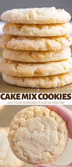 Cake Mix Cookies made with just 4 ingredients in one bowl are sweet, bakery soft. Cake Mix Cookies made with just 4 ingredients in one bowl are sweet, bakery soft, and incredibly EASY to make in under 20 minutes! Cake Mix Desserts, Cake Mix Cookie Recipes, Cookie Desserts, Easy Desserts, Dessert Recipes, Recipes Using Cake Mix, Dessert Food, Sugar Cookie Recipe With Cake Mix, Easy Few Ingredient Desserts