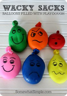 Wacky Sacks- Balloons filled with Playdough - Somewhat Simple                                                                                                                                                                                 More
