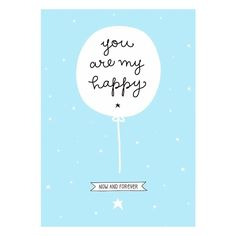 Poster 'You are my happy' blau 50x70cm