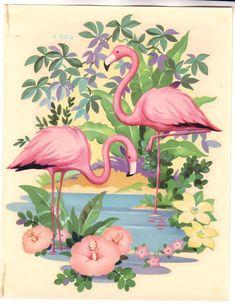 Vintage Meyercord flamingo decal