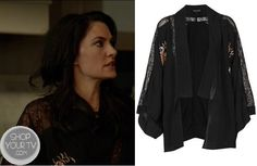 Witches of East End: Season 1 Episode 2 Wendy's Black Lace Floral Embroidered Kimono | ShopYourTvShopYourTv