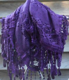 Purple Lace Infinity scarfPurple Lace Scarf Lace S Bridal Shawl, Wedding Shawl, Vintage Festival, Purple Fashion, Men's Fashion, Wedding Wraps, Lace Scarf, Summer Scarves, Festival Wedding