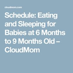 Schedule: Eating and Sleeping for Babies at 6 Months to 9 Months Old – CloudMom