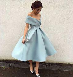 Short Off-the-Shoulder Prom Dress with Pockets, Midi Dresses