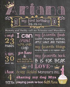 Birthday Chalkboard Birthday Poster Sign by DesignsByAlaina Pink Birthday, Birthday Board, Third Birthday, First Birthday Parties, First Birthdays, Birthday Ideas, Birthday Recipes, Husband Birthday, Birthday Cakes