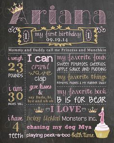 Princess, Pink, Gold Birthday Chalkboard Poster Sign. 1st, 2nd, 3rd, 4th Birthday Memory Sign by DesignsByAlaina