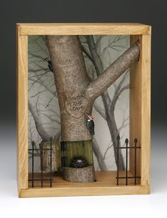 ⌼ Artistic Assemblages ⌼ Mixed Media & Collage Art - Working Birds Studio Shadow Box: