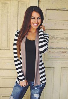 Dottie Couture Boutique - Striped Cardigan- Mocha/Black , $34.00 (http://www.dottiecouture.com/striped-cardigan-mocha-black/)