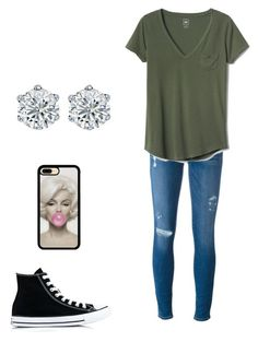 Grunge cutie on Polyvore featuring polyvore, fashion, style, Gap, Frame Denim, Converse and clothing
