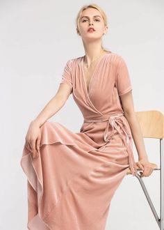 vintage silk velvet wrap dress velvet peach m Velvet Bridesmaid Dresses, Bridesmaids, Velvet Skater Dress, Pink Wedding Colors, Knitted Coat, Dresses Online, Beautiful Dresses, Wrap Dress, Fashion Outfits