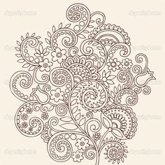 paisley tattoo | ... Paisley Floral Tattoo Doodle- Vector Illustration Design Elements