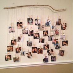 Stick, twine, clothes pins and pictures :)