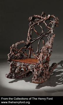 Description: This chair, made of tree roots and branches, was once owned by one of the richest men in 19th century America. Cornelius Vanderbilt (1794-1877), the founder of shipping and railroad dynasties, may have used this chair on his porch, in a gazebo, or other garden structure at his Staten Island, New York home. Many well-to-do Victorians admired rustic furniture that celebrated nature.http://collections.thehenryford.org/