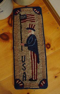 Primitive Uncle Sam Hand Hooked Wool Rug Rug Hooking Patriotic Americana | eBay  sold   155.00   ~♥~